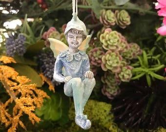 Miniature Boy Fairy Ornament - Blue
