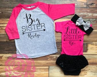 Big Sister Little Sister Shirt Set, 2 Sibling Shirts, Big Sister Little Sister Shirts, Sibling Shirts, Big Sister Little Sister Outfits
