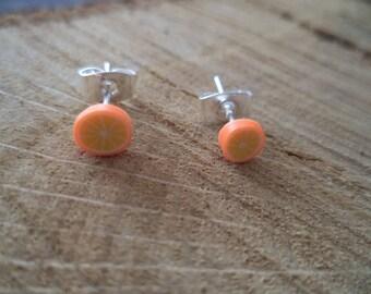Orange Silver earrings in polymer clay