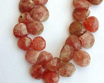 1 Strand Natural Sunstone 10-11mm Faceted Flat Pear shape Gemstone Beads 8'' long strand By SHAMSHAD GEMS