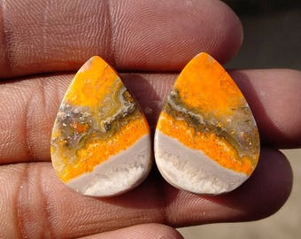 New year sale 33.35cts  Bumblebee Pair natural Gemstone ,cabochon , smooth,  pear shape,  24x17x3mm  size, AM141