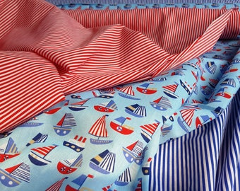 Printed Polycotton Fabric in Nautical Patterns, Choose between Sailing Boats, Red Stripe or Blue Stripe