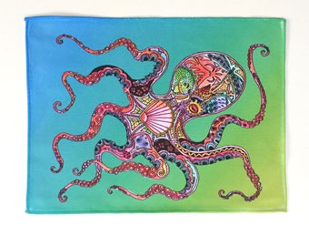Microfiber Cloth Wipes Octopus Animal Spirits by Sue Coccia Native American Art Microfiber for Glasses, Computer Screens, Ipads & Phones USA