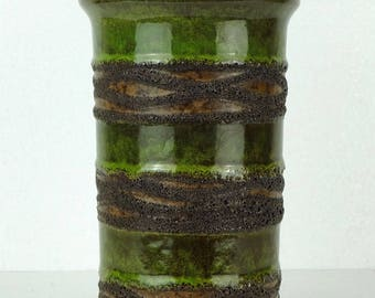 east german pottery VASE strehla model 7275 green and brown with black fat lava