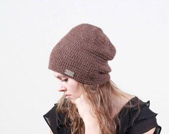 Crochet beanie for women, women slouchy beanie, brown hat, knit slouchy hat for women, brown Winter hat, unisex beanie, women beanie hat