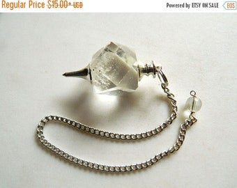 ON SALE 50% Crystal Pendulum, Dowsing Pendulum, Chakra Pendulum, Chakra jewelry, Healing Necklace