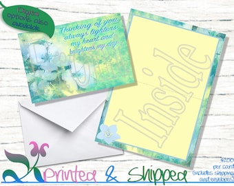 Blue Watercolor Flower Note Cards; Folded Card; Postcard; PDF; E-Card