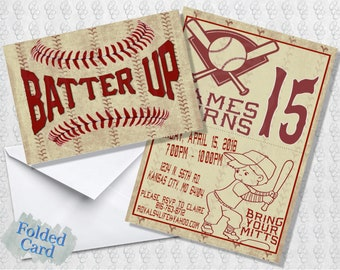 Vintage Baseball Invitation; Folded Card; Postcard; PDF; E-Card