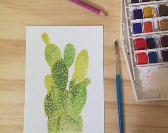 Cactus Plant in Diamond Fine Art Watercolor Print