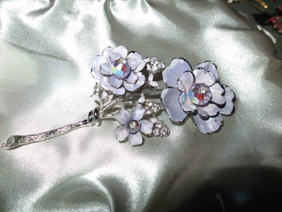 Vintage silver metal lilac enamel rhinestone large flower brooch