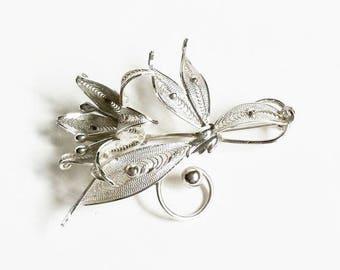 Sterling Silver Flower Filigree Brooch