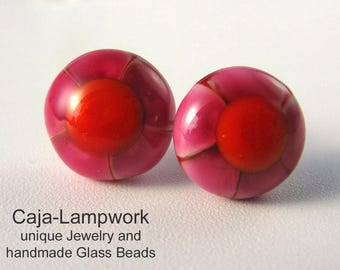 Pink-orange flower earrings, Lampwork, surgical steel