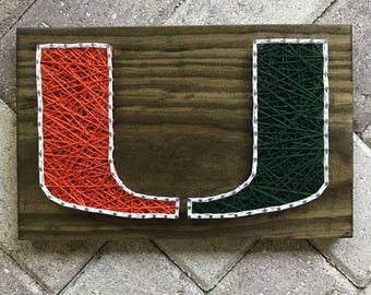 MADE TO ORDER - University of Miami, Miami Hurricanes String Art Wooden Board