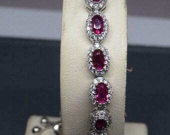 Turkish Handmade Jewelry 925 Sterling Silver Ruby Stone Ladies' Bracelet