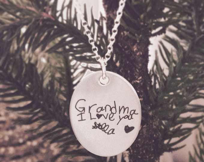 Handwritten Oval Pendant Necklace, Engraved Stainless Steel- Your Handwriting or Font Text- Handcrafted, Personalized Jewelry, Gifts For Her