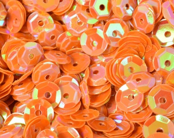 4/6mm Orange Cup Glossy Iridescent Sequins Sheen Round Sequins/Loose Paillettes,Wholesale Sequins,Shimmering Sequin Apparel