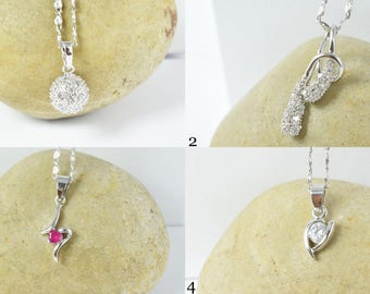 Feminine Sparkly Petite White Gold Rhodium Pendant w/Encrusted colored  CZ Stone, Cubic stone pendant/ White Gold Holiday Pendant
