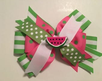 Watermelon Hair Bow Pink and Green Watermelon Hair Bow Green White Stripes Pink Polka Dots Stacked Bow with Watermelon Resin