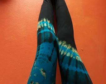 Aqua Half 'n half Leggings/ Tie Dye Leggings\xx long legs/ Yoga Leggings/ Dalto/Fold over waist band Leggings
