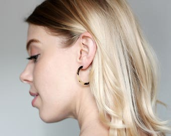 Blonde Tortoise Mini Hoop Earrings