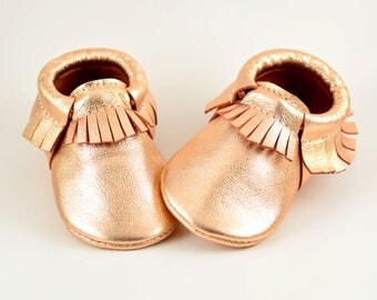 ON SALE! Baby Moccasins Metallic Rose Gold Genuine Leather Moccs Girls Newborn Toddlers Kids Soft Soled Shoes Handmade Booties Crib