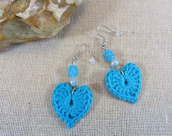 Earrings heart crochet cotton blue earrings, jewelry textile earrings heart jewelry beads, gifts for her