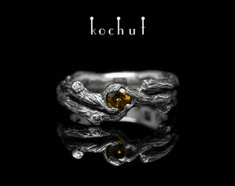 Сitrine branch ring, silver twig ring, nature citrine ring. Citrine branch ring from Kochut twig collection.