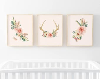 Blush Boho Antler Nursery Digital Print Bundle | Nursery Wall Art | Floral Print | Blush Nursery Decor | Baby Girl Nursery Prints