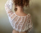 Strappy Fish Net Crop Top, White Shrug, Crochet strappy scarf, strappy bolero, yoga crop top