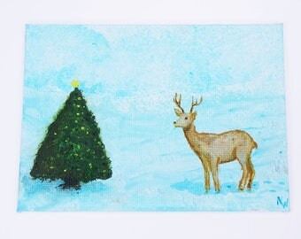 Deer Deer and Christmas tree-acrylic on canvas-unique-winter Christmas on postcard canvas 10.5 x 14.8 cm Art painting