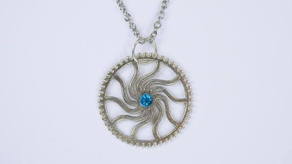 Necklace gear with blue Strasstein on silver-colored link chain made of stainless steel steampunk jewelry gears pendant Blue Gift
