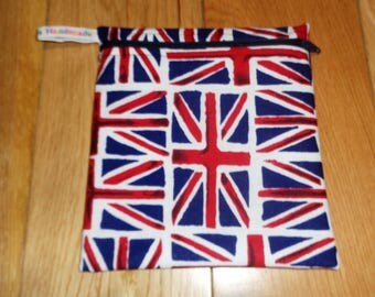 Reuseable Wrap - Bikini Bag - Lunch Bag  - Zero Waste Medium Poppins Waterproof Lined Zip Pouch - Sandwich bag - Eco - Union Jack Flag