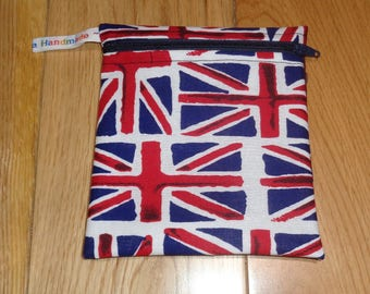 Snack Bag - Bikini Bag - Lunch Bag - Make Up Bag Small Poppins Waterproof Lined Zip Pouch - Sandwich bag  Eco - Union Jack UK Flag - Royal