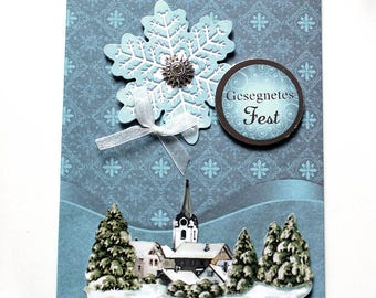 3D Christmas card with german saying blue silver handmade unique greeting card with envelope gift xmas