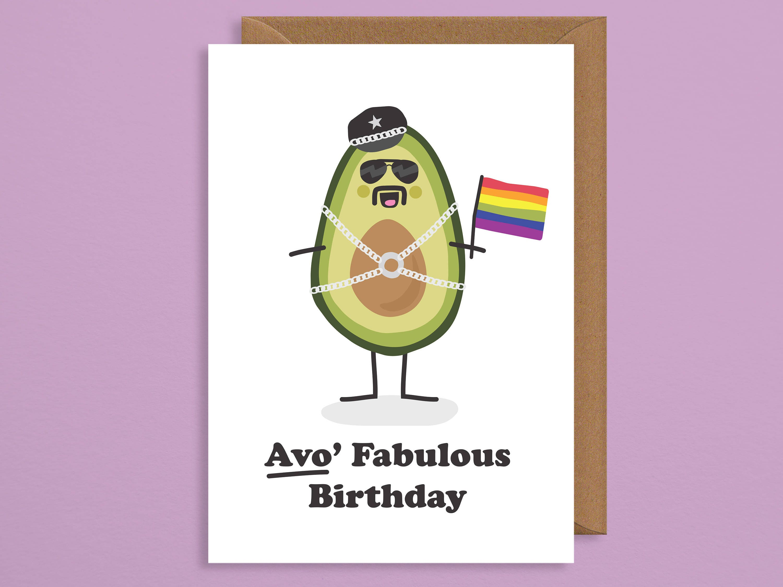 Gay birthday card birthday card husband pride avocado