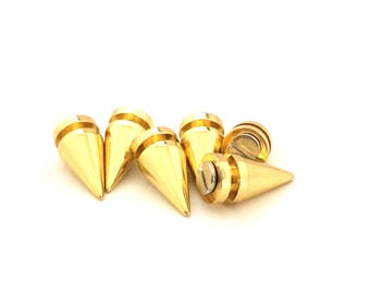 SIX 19mm GOLD Spikes / Metal Spikes / Studs and Spikes /  Pyramid Spikes / Gold Spikes / Screw in Spikes / Tree Spike / SET of Six