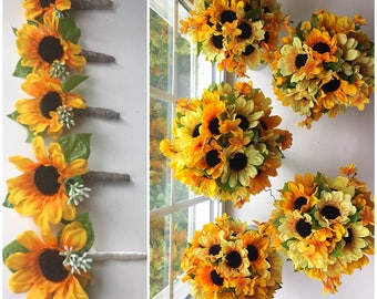 Sunflower Wedding Bouquets/Boutonnieres