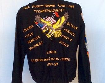 Vintage 1980s Navy Cruise Tour Jacket