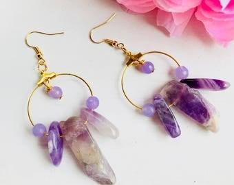 Quartz earrings, natural stone earrings, quartz crystal earrings, quartz pendant earrings, purple hoop earrings, hoop earrings