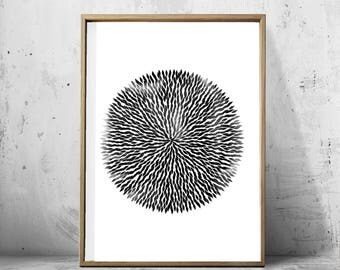 Abstract Watercolor Print Black White Wall Art Circle Mandala Paint Strokes  Brushstrokes Minimalist Art Large Printable