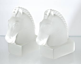 Vintage Frosted Glass Horse Bookends