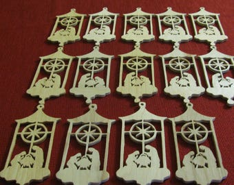 14 Wooden Scroll Sawed Ornaments