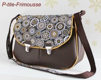 Cotton, and chocolate faux closures satchel shoulder Messenger bag.