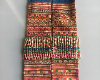 BIG SALE!!!  vintage Hmong fabric embroidery textile ,Hmong cross stitch  textile art bead,supplies,decorated  tribal,Vintage  Tapestry