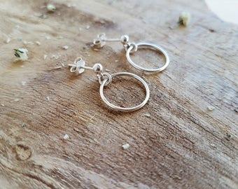 925 Silver earrings with geometric form / squares / circles / plates / minimal jewlery / geometric jewelry