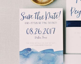 Watercolor Ombre Save The Dates / Navy, Blue, Aqua, Red, Sand, Pink Watercolor / Brush Lettering / Semi-Custom Print-at-Home Save The Dates