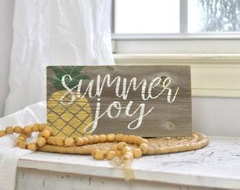 Summer joy pineapple wooden sign - summertime - summer sign - joy - pineapple decor - housewarming gift