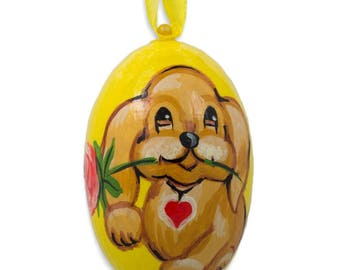 "3"" Yellow Labrador Dog with Flower Wooden Christmas Ornament"