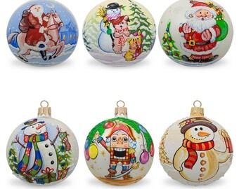 "3.25"" Set of 6 Glass Ball Christmas Ornaments - Snowmen, Santa's & Nutcracker"
