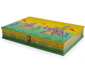 Indian Emperor Parade Wooden Jewelry Box